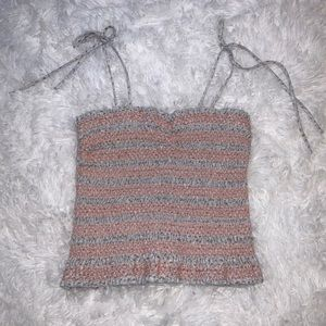 ANNA GRACE Knitted Crop Tank Top LIGHT PEACH/BLUE